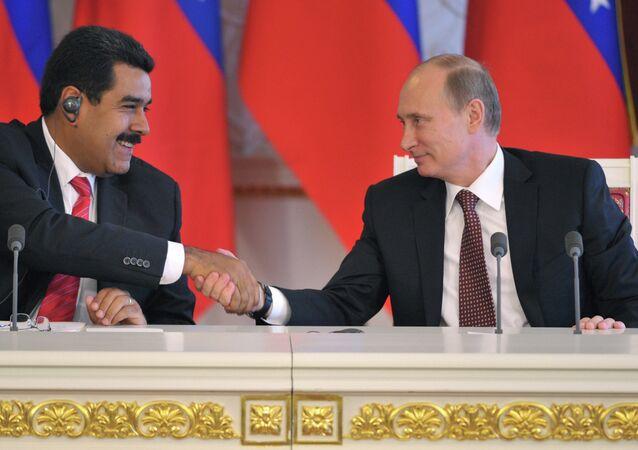 Nicolás Maduro, presidente de Venezuela y Vladímir Putin, presidente de Rusia (archivo)