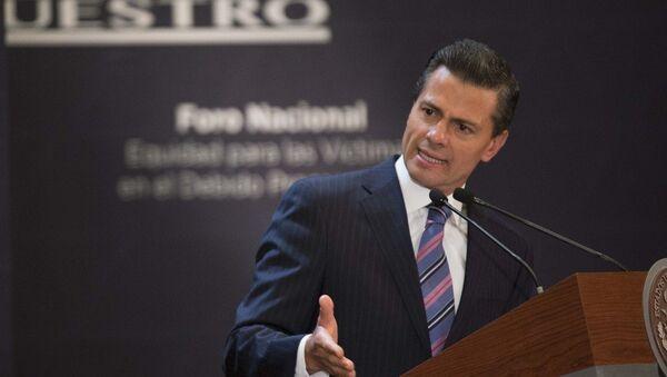 Президент Мексики Энрике Пенья выступает на форуме Равенство для жертв в уголовном процессе - Sputnik Mundo