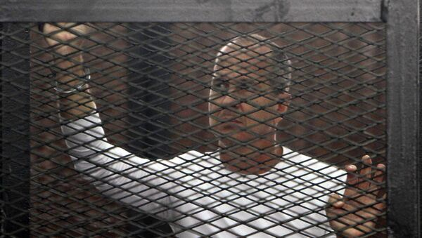 Al Jazeera journalist Peter Greste of Australia during his trial in a court in Cairo - Sputnik Mundo