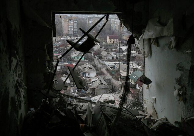 Casas destruidas en la región de Donetsk