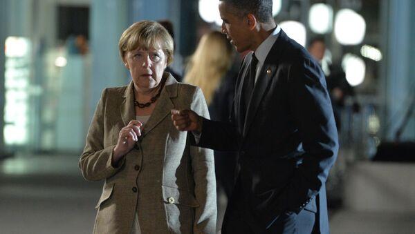 Canciller de alemana Angela Merkel y presidente de EEUU Barack Obama - Sputnik Mundo