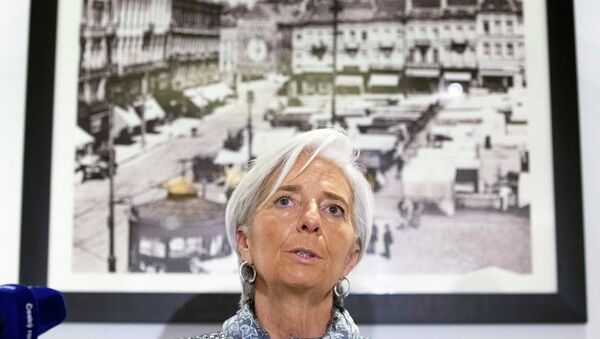 International Monetary Fund (IMF) Managing Director Christine Lagarde speaks about the situation in Ukraine at a news conference in Brussels February 12, 2015 - Sputnik Mundo