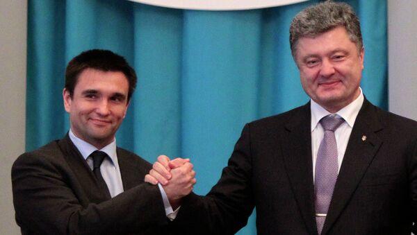 Ministro de Exteriores de Ucrania, Pavló Klimkin y presidente de Ucrania, Petró Poroshenko - Sputnik Mundo