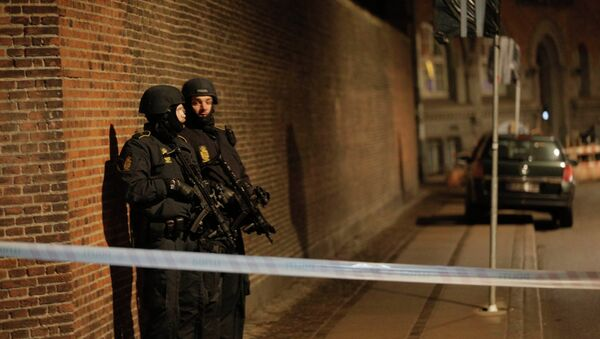 Policemen are seen along a street in central Copenhagen, early February 15, 2015 following shootings at a synagogue in Krystalgade - Sputnik Mundo