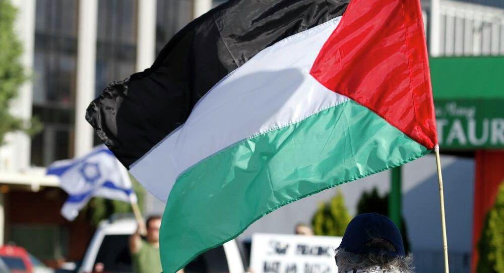 Banderas de la Autoridad Nacional Palestina (ANP) y Israel