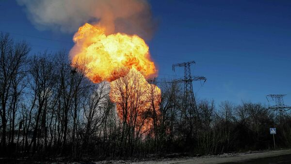 A view of an explosion after shelling is seen not far from Debaltseve February 17, 2015 - Sputnik Mundo