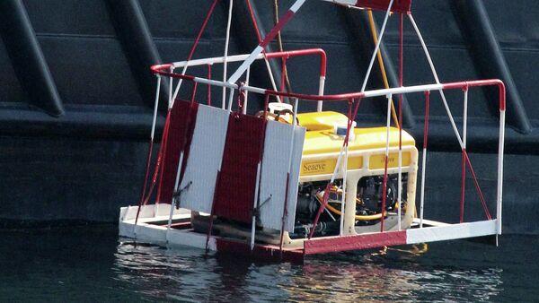 Спасатели спускают с борта гидрографического судна Виктор Фалеев телеуправляемый подводный аппарат Тайгер - Sputnik Mundo