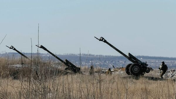 Cannons of the Ukrainian armed forces are seen at their positions near Debaltseve, February 17, 2015 - Sputnik Mundo