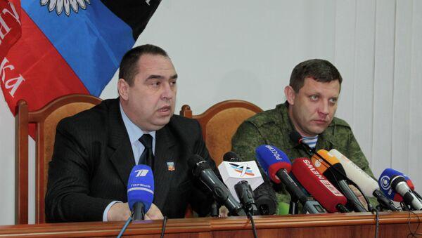Líder de la autoproclamada República Popular de Lugansk (RPL), Ígor Plotnitski y , líder de la autoproclamadas República Popular de Donetsk (RPD), Alexandr Zajárchenko - Sputnik Mundo