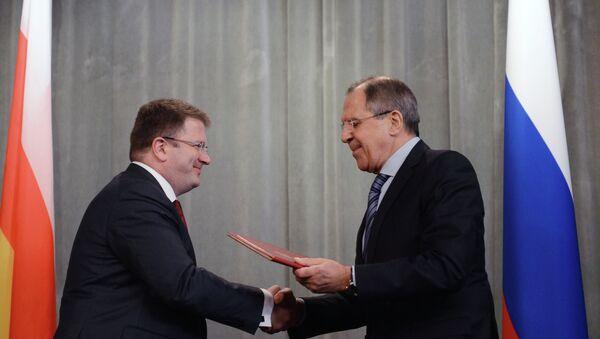 Serguéi Lavrov y David Sanakoev, ministros de Exteriores de Rusia y Osetia del Sur - Sputnik Mundo