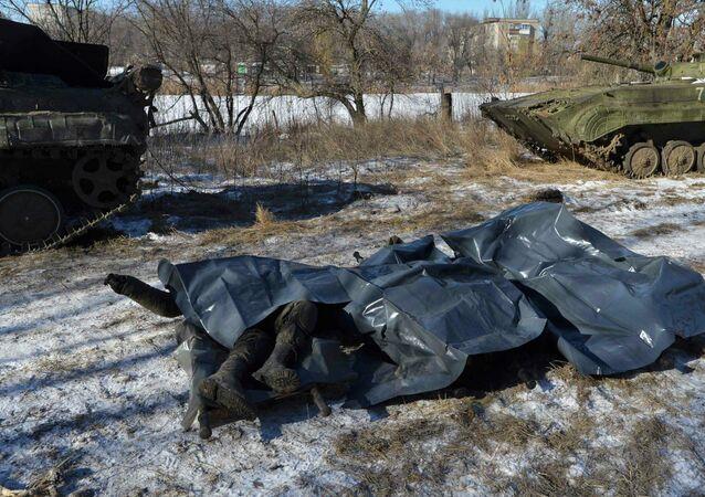 Cuerpos de los militares ucranianos asesinados en Debáltsevo
