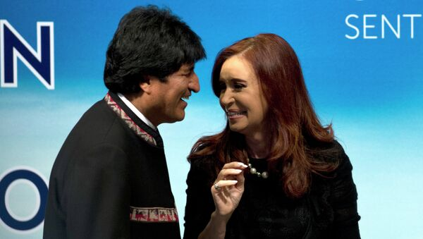 Presidente de Bolivia, Evo Morales y presidenta de Argentina, Cristina Fernández de Kirchner - Sputnik Mundo