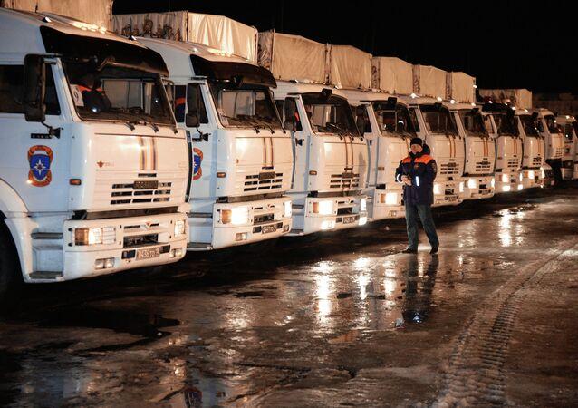Camiones con la ayuda humanitaria rusa para Donbás