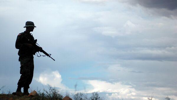 Soldado de la Guardia Nacional de EEUU asiste a la Patrulla de Fronteras en la frontera con México - Sputnik Mundo