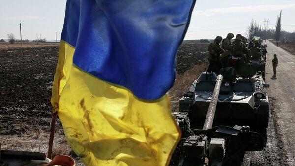 Bandera ucraniana en Donbás - Sputnik Mundo