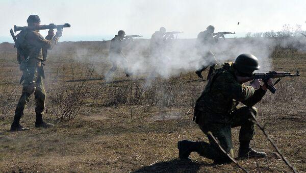 Fighters of Ukrainian volonteer Azov battalion take part in military exercises not far southeastern Ukrainian city of Mariupol, on February 27, 2015 - Sputnik Mundo