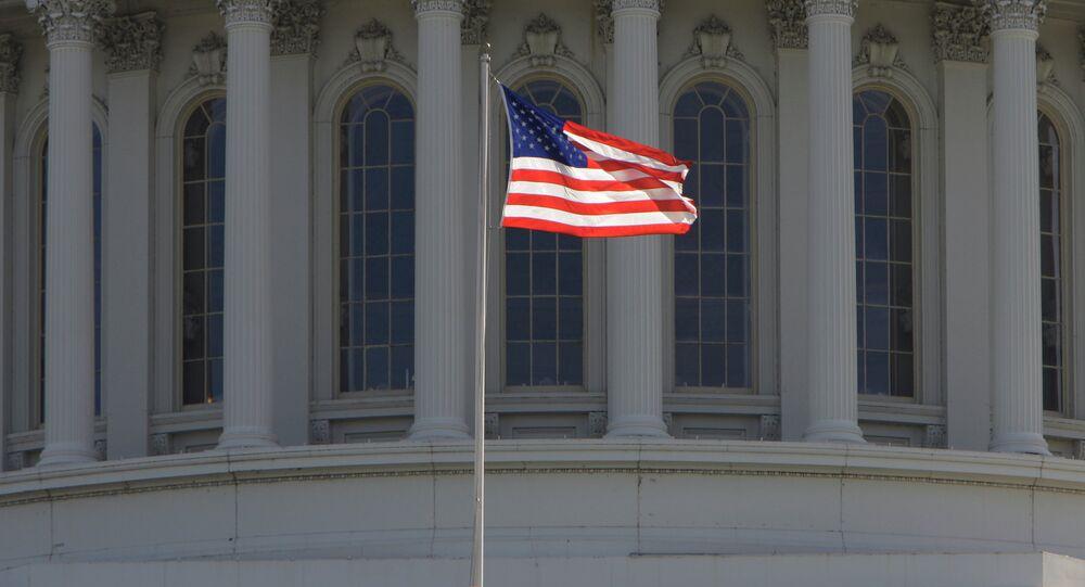 Bandera estadounidense frente al Capitolio de EEUU en Washington