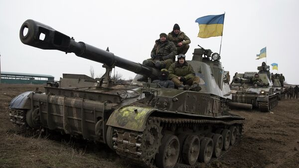 Carros de combate ucranianos (Archivo) - Sputnik Mundo