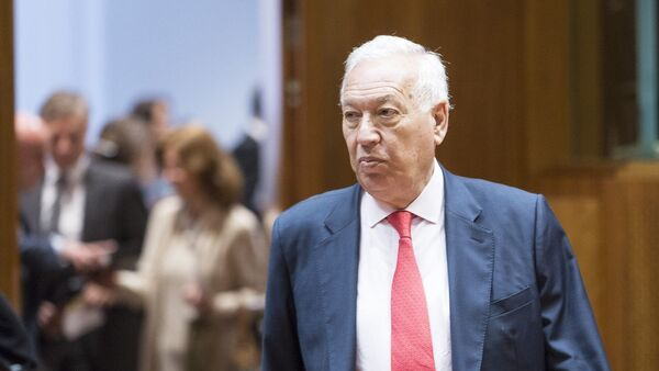 Spanish Minister of Foreign Affairs and Cooperation Jose Manuel Garcia-Margallo arrives for an EU foreign affairs minister council in the EU Council headquarters - Sputnik Mundo