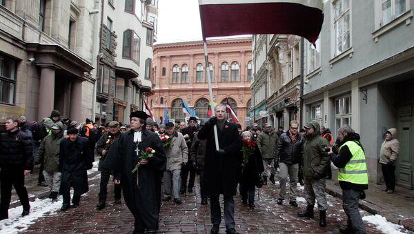 Marcha de los veteranos de las Waffen SS en Riga (archivo) - Sputnik Mundo