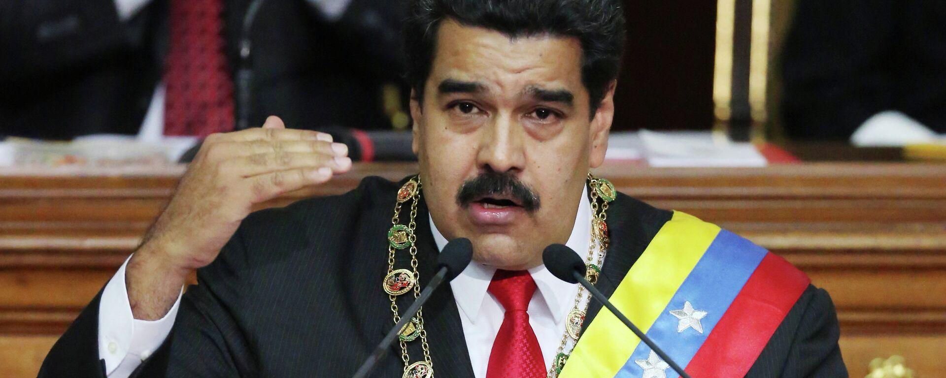 Venezuela's President Nicolas Maduro, speaks during the annual state-of-the-nation address at the National Assembly in Caracas, Venezuela, Wednesday, Jan 21, 2015 - Sputnik Mundo, 1920, 28.06.2021