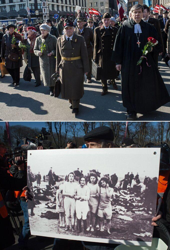 Procesión de los ex legionarios de SS en Riga y marchas nazis durante la II Guerra Mundial