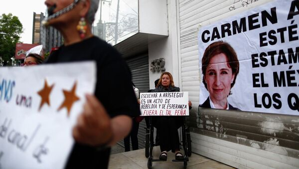 A supporter holds a sign during a protest against the dismissal of Mexican journalist Carmen Aristegui - Sputnik Mundo