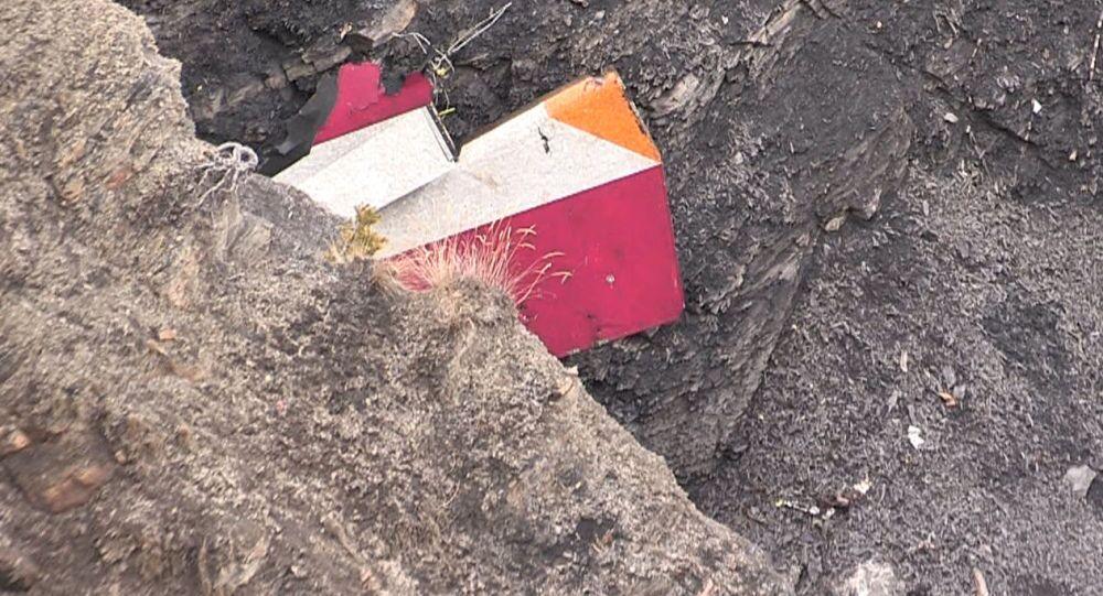 Los restos del Airbus A320 accidentado en los Alpes