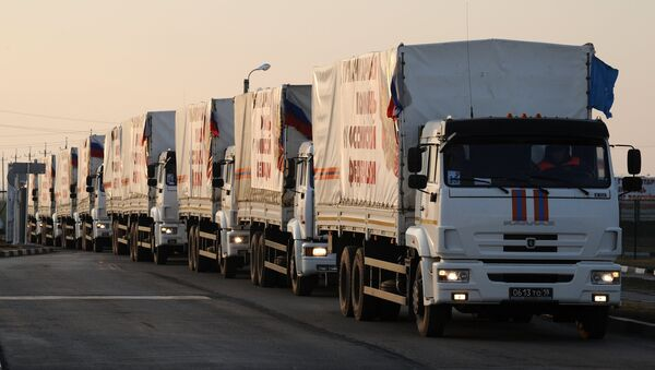 Camiones y autos con ayuda humanitaria - Sputnik Mundo