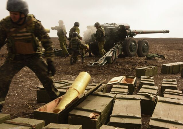 Militares ucranianos durante los ejercicios