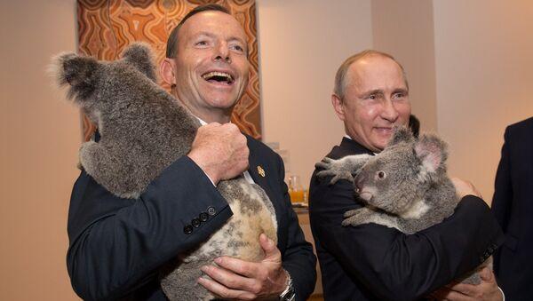 Primer ministro de Australia, Tony Abbott y presidente de Rusia, Vladímir Putin, durante la cumbre del G20 - Sputnik Mundo