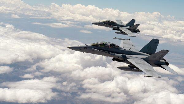 Cazas F-18 de Fuerza Aérea estadounidense - Sputnik Mundo