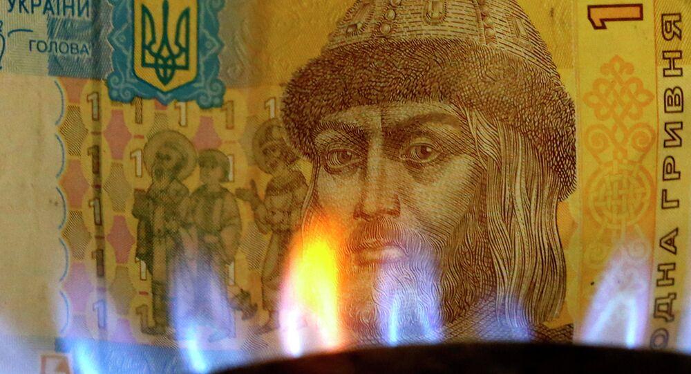Billete de una grivna con una llama de gas