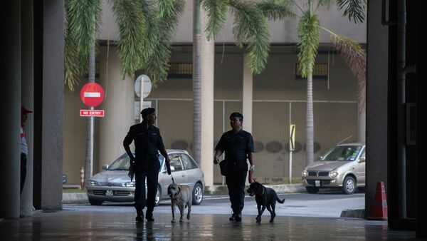 Dogs from the Malaysian Police K-9 unit join officers on patrol before the arrival of Malaysian opposition leader Anwar Ibrahim for his legal case against Malaysian Foreign Minister Anifah Aman at the Duta court complex in Kuala Lumpur - Sputnik Mundo