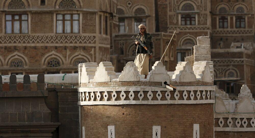 Rebeldes hutíes en Saná, Yemen