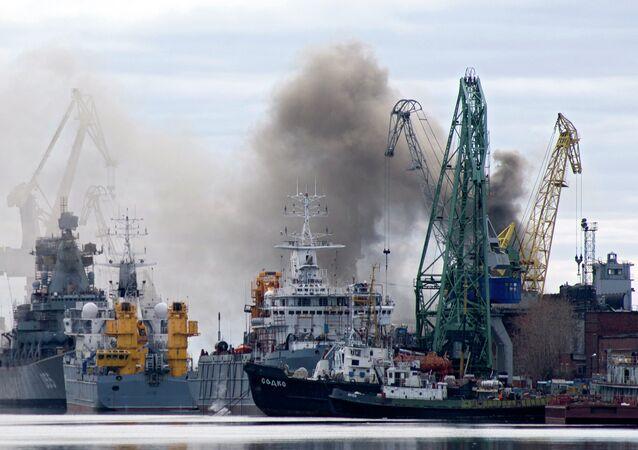 Incendio en el submarino ruso Oriol