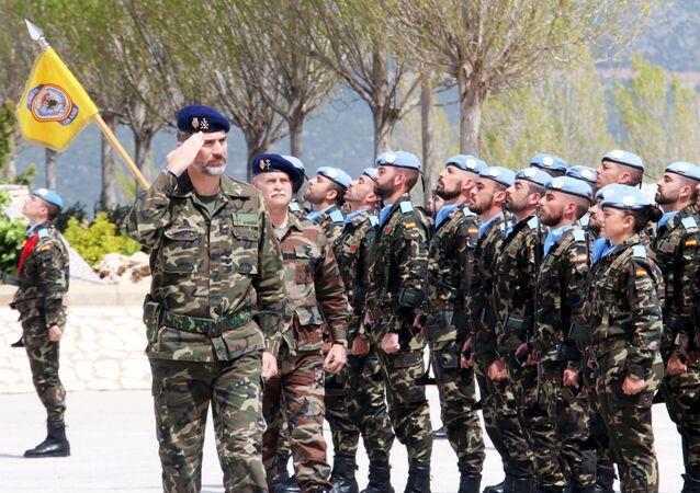 Rey Felipe VI durante su visita a la base militar Miguel de Cervantes
