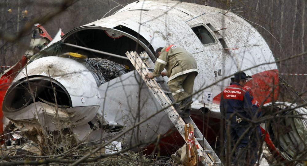 Los escombros del avión del presidente Lech Kaczynski