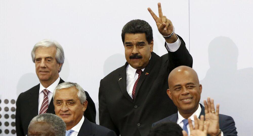 El presidente de Venezuela, Nicolás Maduro en la primera sesión de la VII Cumbre de las Américas