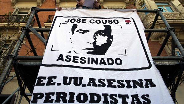 Protesta en Madrid por el asesinato de José Couso (archivo) - Sputnik Mundo