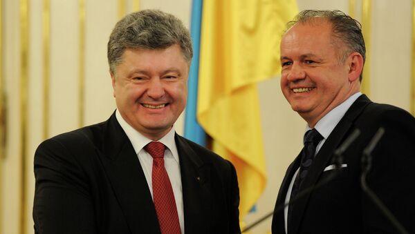 Presidente de Ucrania, Petró Poroshenko y presidente de Eslovaquia, Andrej Kiska - Sputnik Mundo