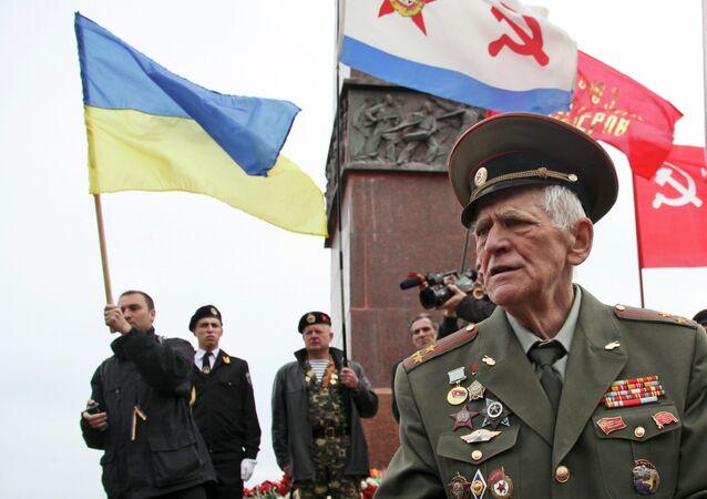 Veterano ucraniano de la Segunda Guerra Mundial en Odesa