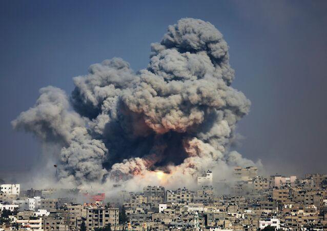 La ciudad de Gaza después de los bombardeos israelíes (2014)