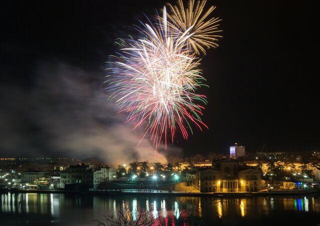 Celebracciones del aniversario de la incorporación de Crimea a Rusia en la ciudad de Sebastopol