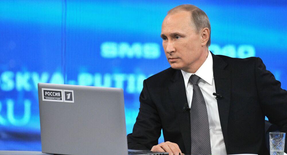 Vladímir Putin, presidente de Rusia durante la línea directa (archivo)