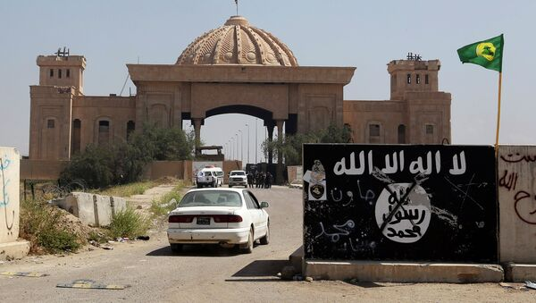 Bandera del EI pintada en una muralla cerca del Palacio de Saddam Hussein en Tikrit - Sputnik Mundo