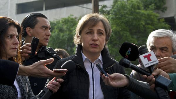 Mexican journalist Carmen Aristegui speaks to the press in Mexico City on March 16, 2015 a day after being fire - Sputnik Mundo