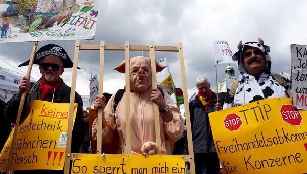 Protestas contra el Tratado de Libre Comercio entre Estados Unidos y la Unión Europea en Alemania - Sputnik Mundo
