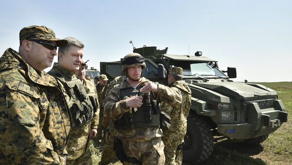 Secretario del Consejo de Seguridad Nacional y Defensa de Ucrania  Alexandr Turchínov y presidente de Ucrania Petró Poroshenko - Sputnik Mundo
