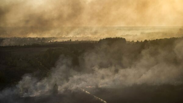 An aerial view from helicopter shows smoke from forest fires in northern Ukraine - Sputnik Mundo